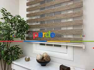 Zebra Perde- Kahverengi Bambu Zebra Perde (kalın Zeminli)- Kahverengi