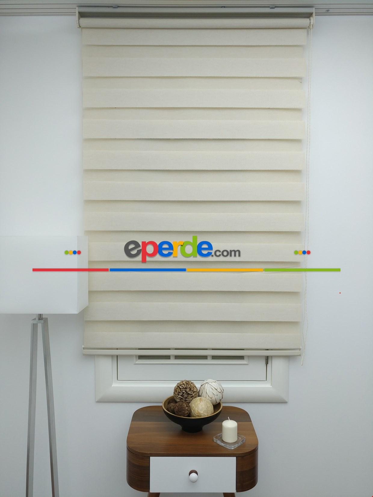 Krem Renk Bambu Zebra Perde (kalın Zeminli) ( Ücretsiz Etek Dilim )
