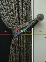 Gri Mint Desenli Jakar Fon Perde (180cm En)- Gri-füme-antrasit-mint Kahverengi