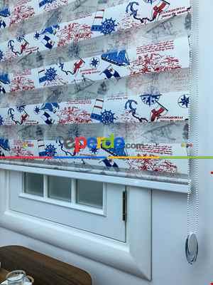 Zebra Perde- Gemi Baskılı Zebra Perde- Mavi