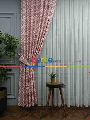 Salon Geometri Desenli Fon Perde ( Leke Tutmaz )- Pembe Pudra Pembe