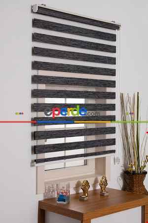 Salon Zebra Perde -Indirimli !!! Füme Bambu Zebra Perde Ozel Fiyat- Füme