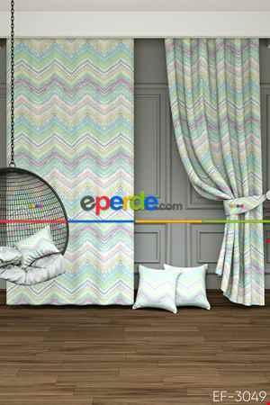 Blackout Kumaştan Çocuk Odası - Soft Renkler Zigzag Baskılı Fon Perde- Pembe-Açık Yeşil-Mavi Açık-Ekru