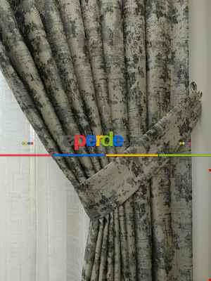 Salon Fon Perde Açık Krem - Düz Jakar Fon Perde (180)- Gri Koyu