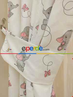 Bebek Odası Fon Perde - Minik Fil Fon Perde Modelleri- Gri Açık