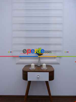 Salon Zebra Perde - Zebra Perde - Beyaz - Dar Plise Model- Beyaz