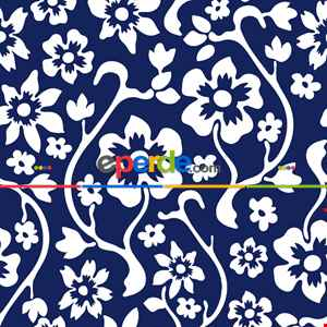 Çiçek Desenli Fon Perde Evm300-2 - Kumaşı Kalındır Duck Bezi Değildir.- Lacivert-Mavi-Beyaz