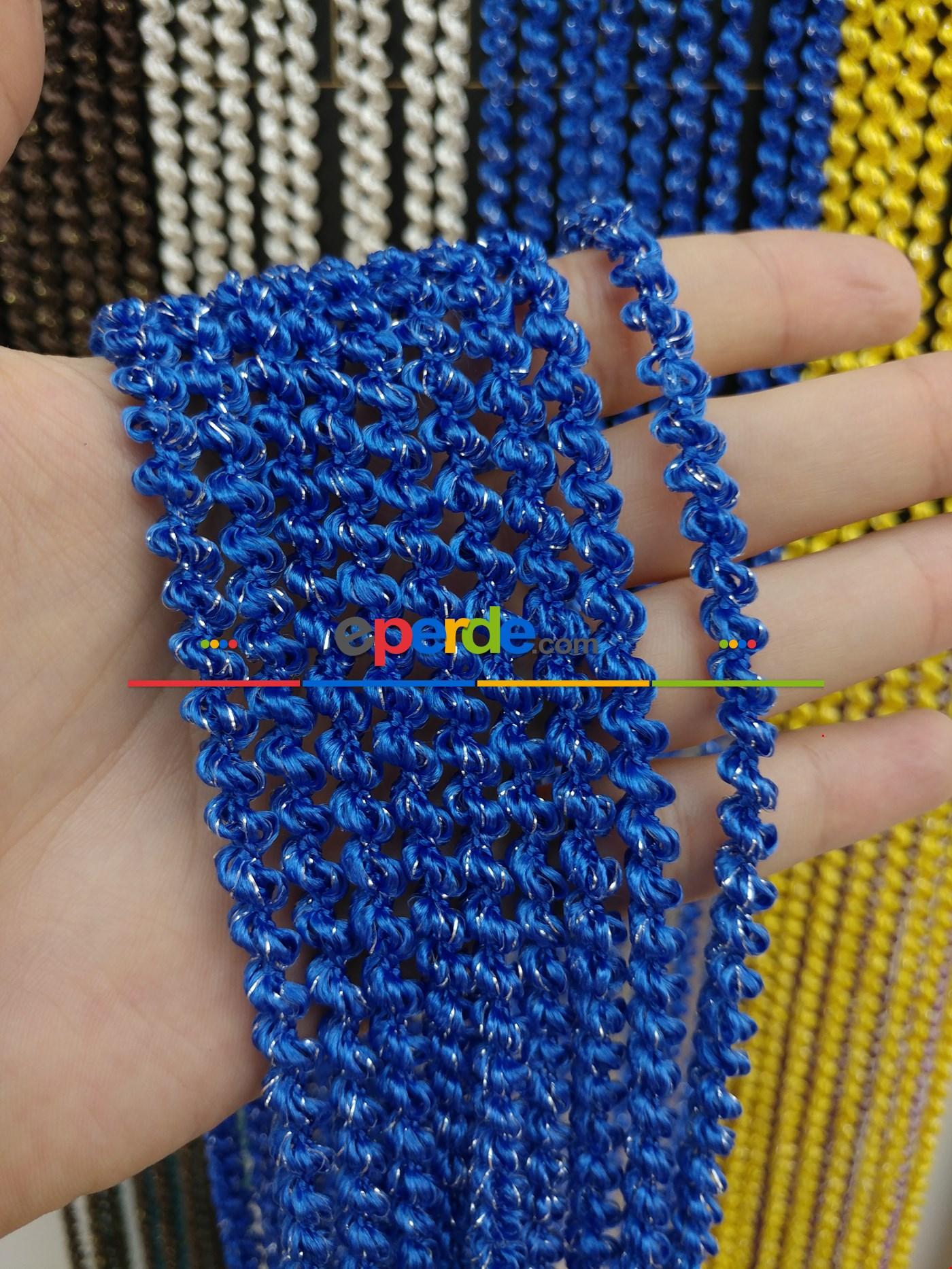 Pembe Rengi İp Perde Bukle Serisi Mavi - Gümüş