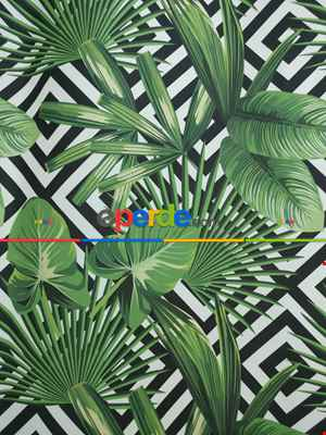 Tropikal Yaprak Desenli Fon Perde - Kumaşı Kalındır Duck Bezi Değildir- Siyah-Yeşil-Beyaz