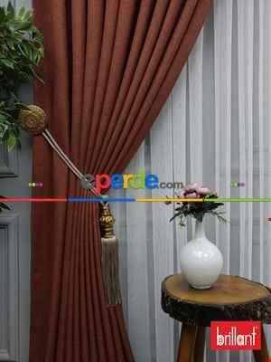 Salon Fon - Brillant Keten Kiremit Renk Düz Fon Perde 180cm- Kiremit Rengi