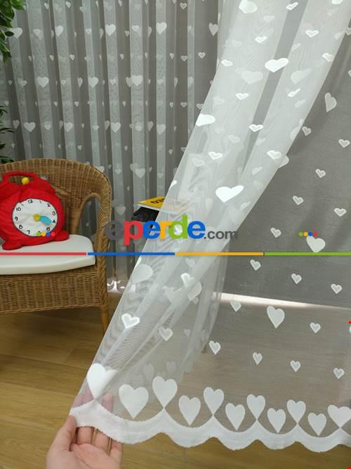 Kalp Desen Çocuk Odası Örme Tül Perde