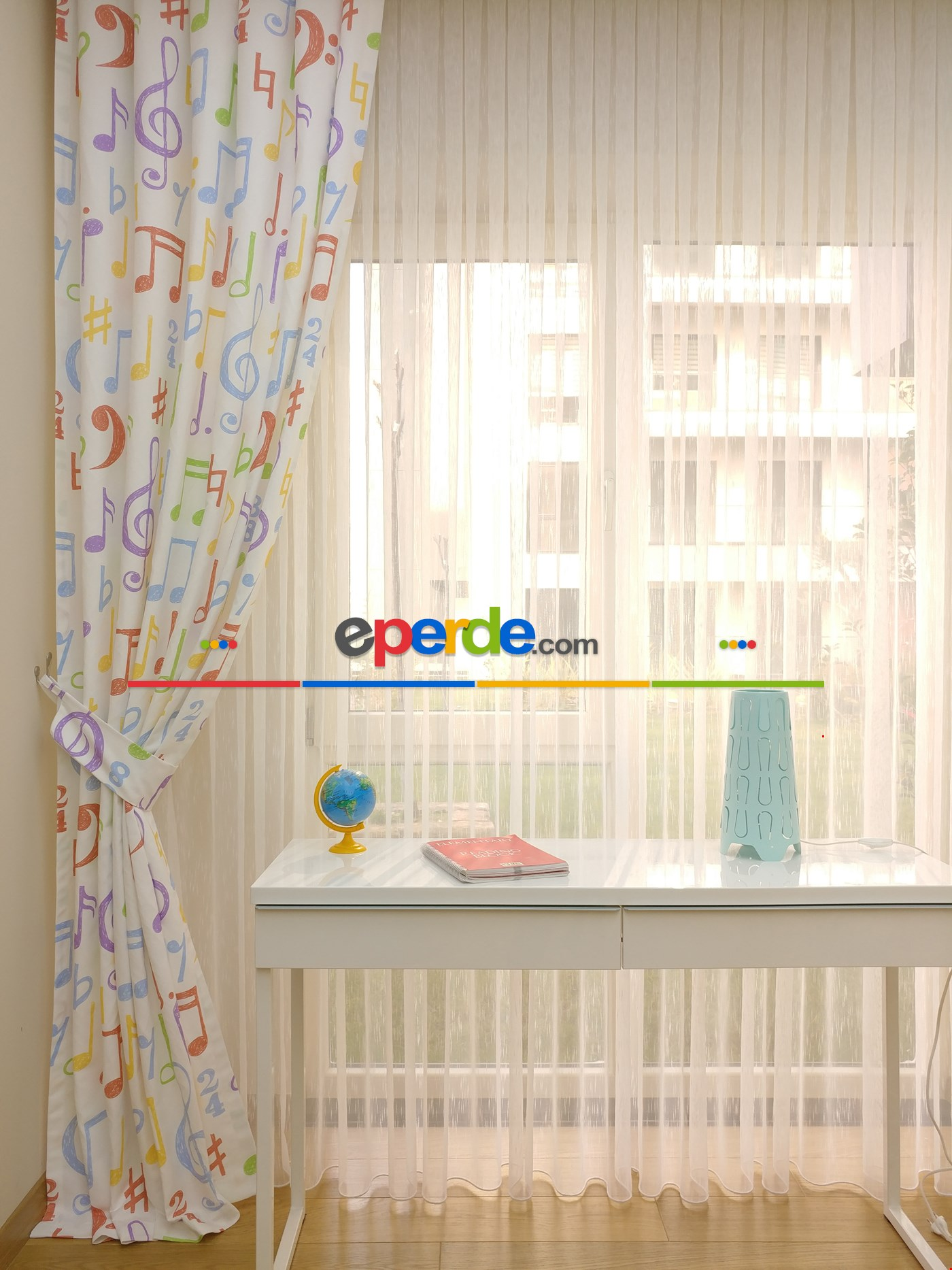 Notalar Kız & Erkek Çocuk Odası Fon Perde & Ana Okulu Perdesi