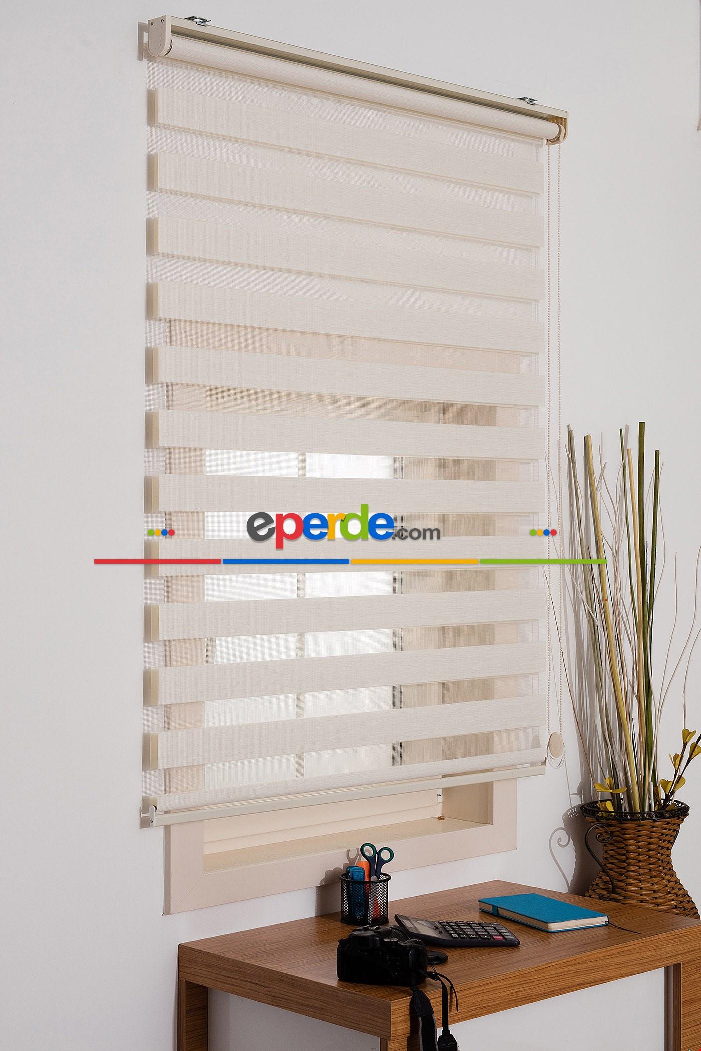 Fırsat!!! Kalın Bambu Lüx Ekru Zebra Perde ( Ücretsiz Etek Dilim ) Krem
