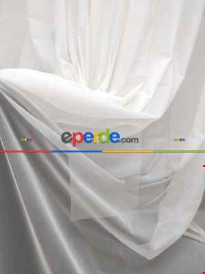 Salon Modern Dökümlü Tül Perde - Beyaz- Beyaz