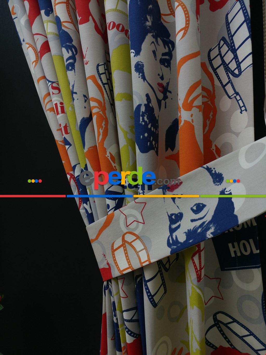 Çocuk Odası Fon - Marilyn Monroe Fon Perde- Mavi