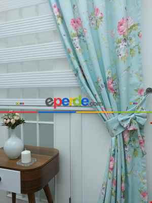 Mint Çiçek Desenli Kumaş - Metre İle Satış - Dikişsiz Kumaş Satışı- Yeşil-pembe-mint