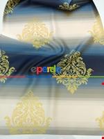 Renk Geçişli Jakar Desenli Salon Fon Perdesi - Lacivert - Mavi - Bej Lacivert - Mavi - Sarı - Bej