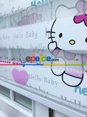 Çocuk Odası - Hello Baby Kız Çocuk Dijital Baskılı Zebra Perde- Beyaz