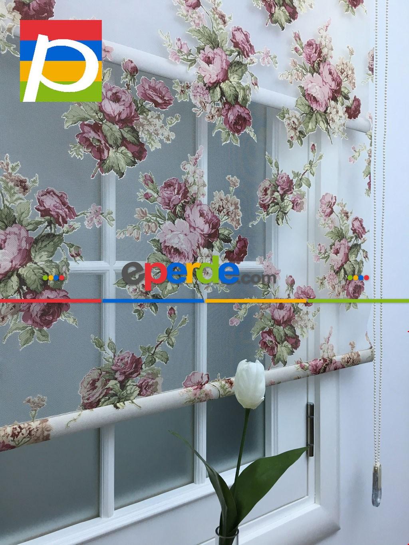 Yakma Tüllü Çiftli Sistem Çiçek Desen Tül Stor Perde,