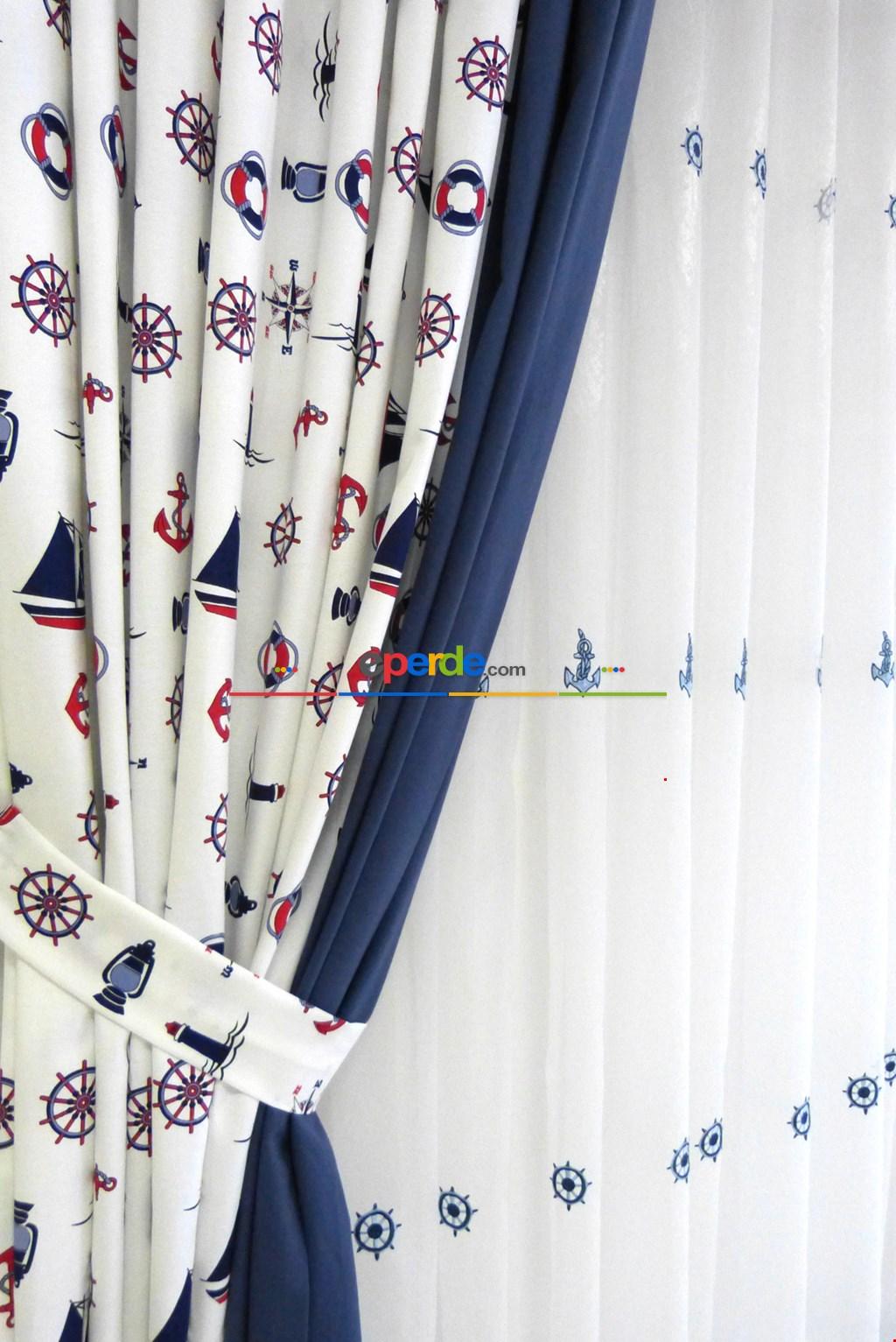 Çapa Desen Denizci Fon Perde Düz Ve Desenli 56-71