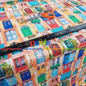 Renkli Kapı Desenli Fon Perde Evm1069 Kumaşı Kalındır Duck Bezi Değildir- Mavi-Turuncu-Kırmızı Açık