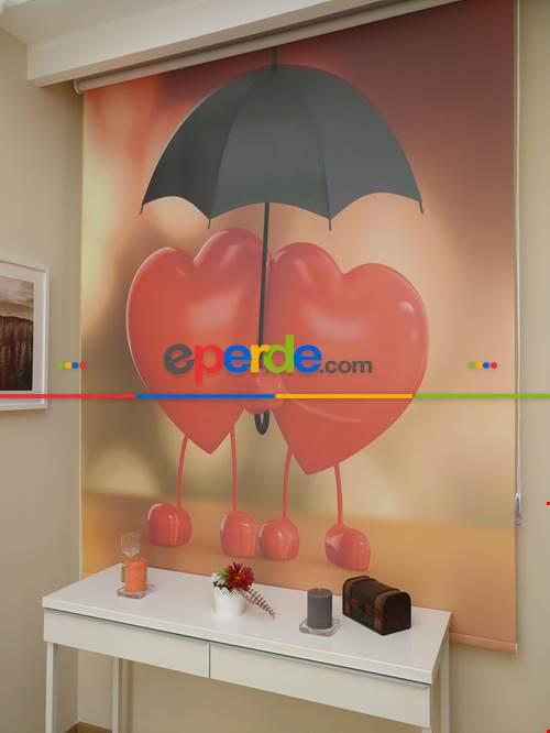 Şemsiye Ve Kapler Dijital Baskılı Stor Perde Genç Kız Odası Perdesi