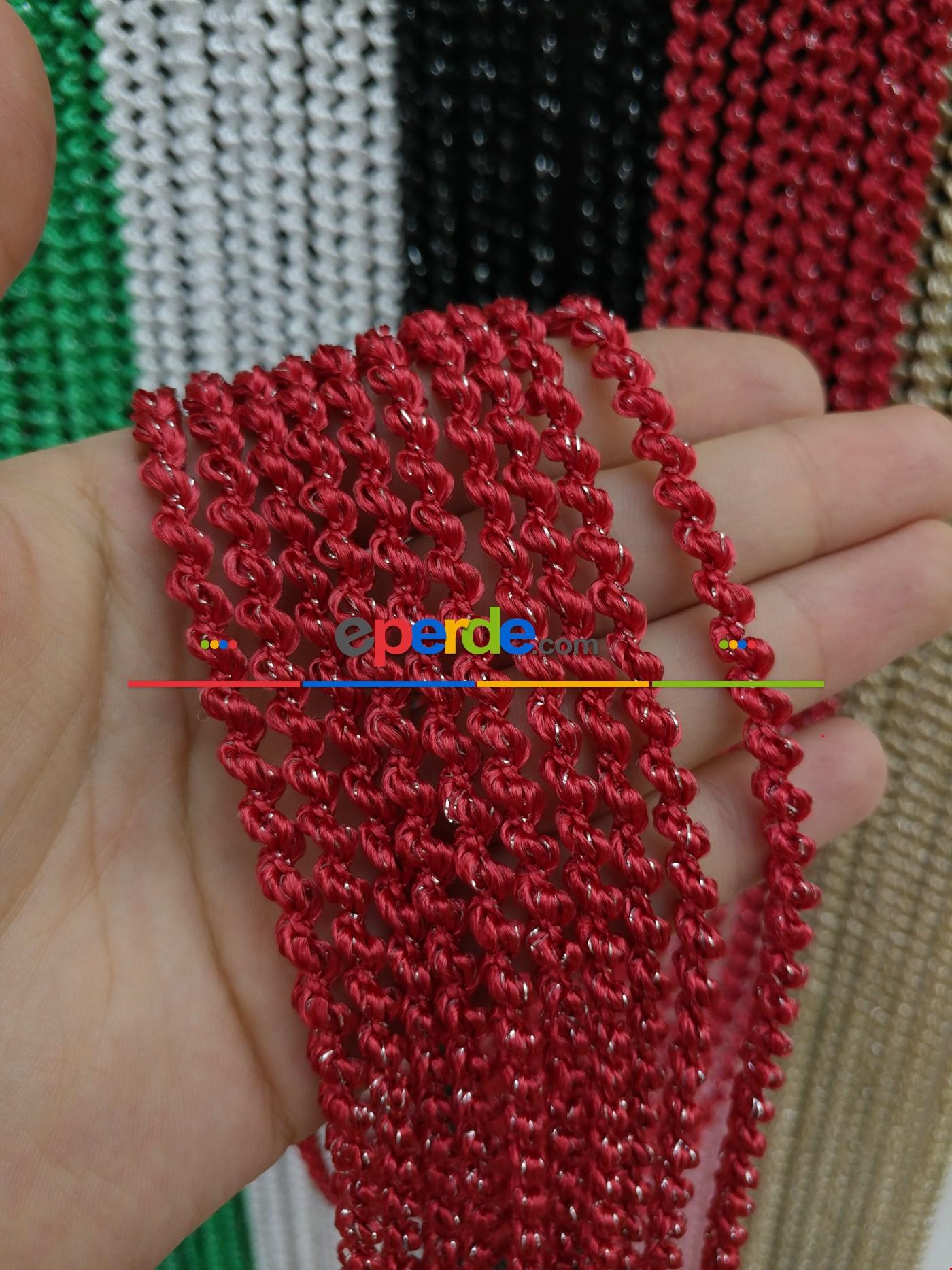 Gri Rengi İp Perde Bukle Serisi Kırmızı - Gümüş