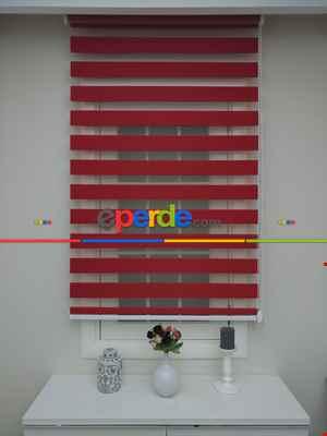 Salon Zebra - Zebra Perde - Kırmızı Bambu- Kırmızı
