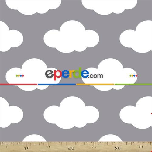 Bebek Odası Fon - Bulut Desenli Fon Perde Evm484-1 Kumaşı Kalındır Duck Bezi Değildir- Gri-Füme-Antrasit