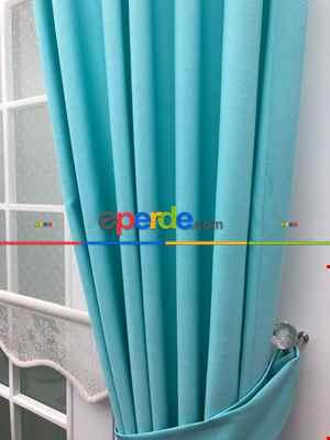 Turkuaz Renk Düz Fon Perde- Turkuaz Yeşili Ara Renk-Turkuaz