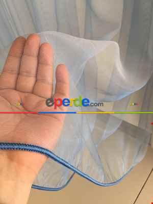 Mavi Renk Düz Dokuma Tül Perde, Kruvaze Perde- Mavi