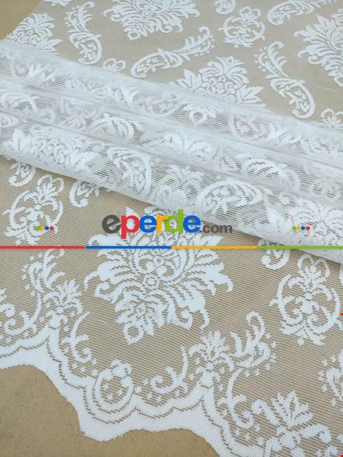 Beyaz Renk Tül Perde Ve Kruvaze Perde Damask Desenli Kdk Dantel- Beyaz
