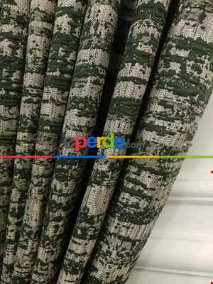 Salon - Yeşil Jakar Desenli Fon Perde- Yeşil