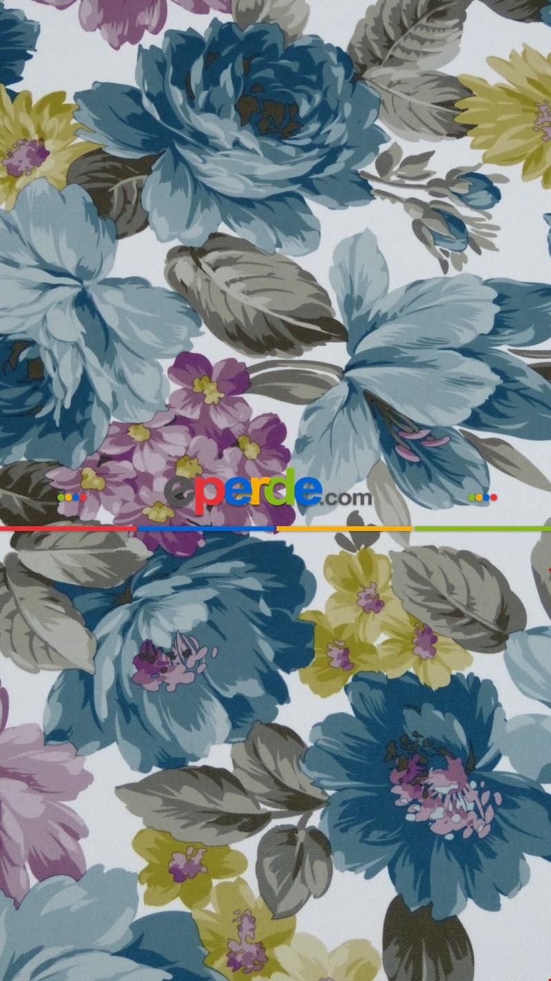 Fon Perde Desenli 55487 Çiçekli ( Petrol Mavi - Turkuaz -mor )