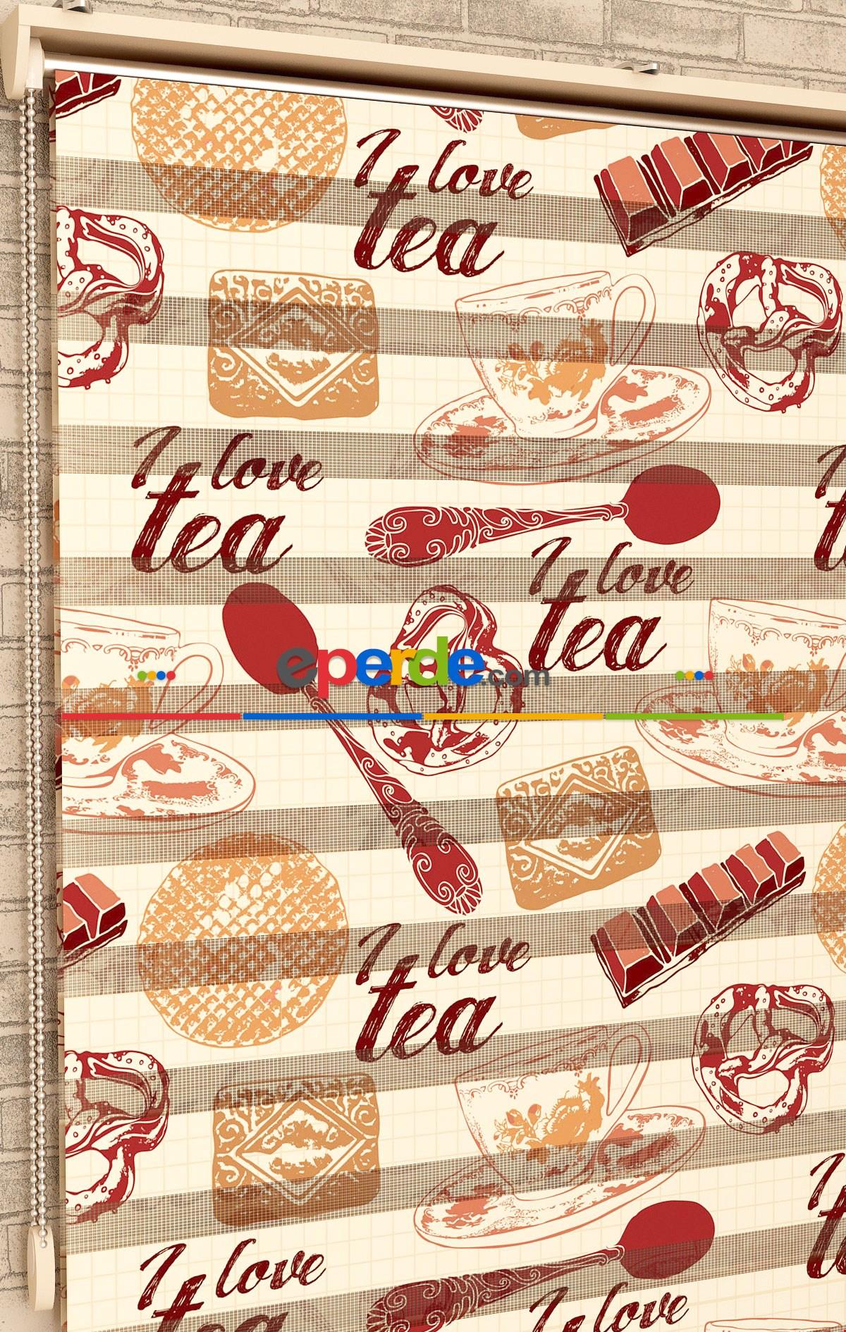 Çikolata Ve Çay Desen - Baskılı Zebra Perde