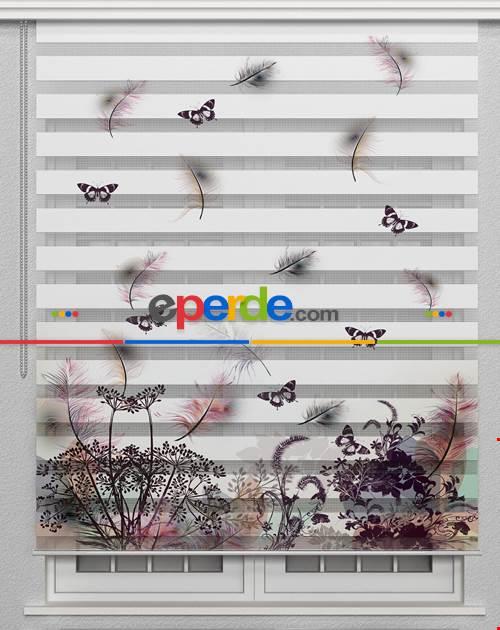 Mürdüm Kelebek Ve Çiçek Desenli Salon Zebra Perde