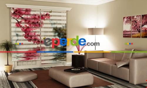 Çiçekler - Baskılı Zebra Stor Perde