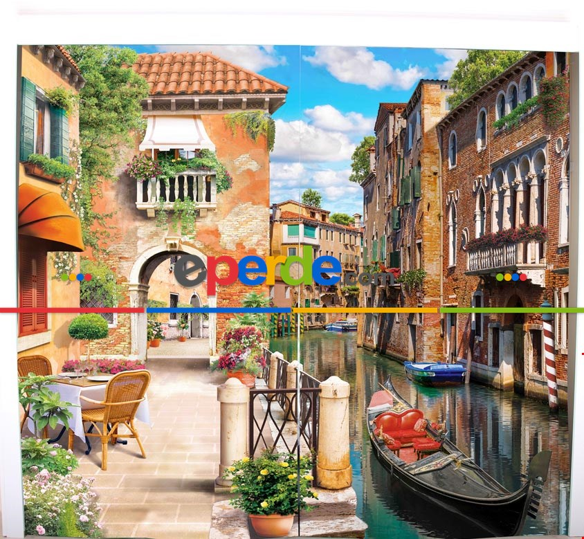 Venedik Resimli Fon Perde Takılmaya Hazır 2 Kanat - Kumaşı Kalındır- Güneş Işığını Azaltır 270cm X 260cm