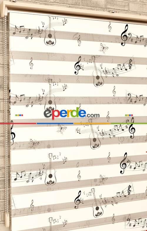 Siyah Beyaz Müzik Notaları - Baskılı Zebra Perde