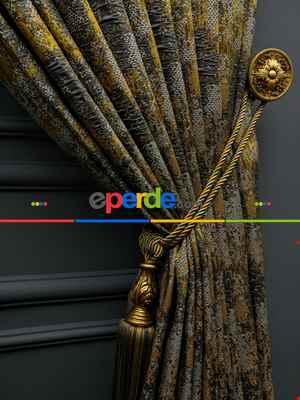 Modern Desenli Jakarlı Fon Perde Yeni Seri 401- Gri-füme-antrasit-füme-altın