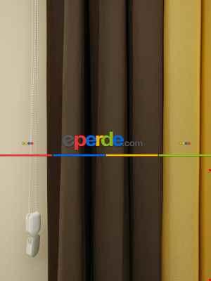 Akıllı Tül Perde Tül Dikey Zebra Perde Düz 1. Kalite, 20 Renk- Kahverengi-krem-hardal Sarısı
