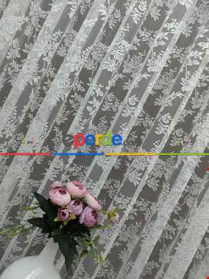 Çiçek Desenli Fransız Dantel Tül Perde- Ekru