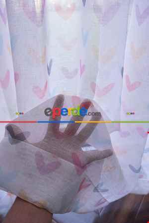 Renkli Kalpler Desenli Keten Zemin Baskılı Tül Perde - Kız Çocuk Odası