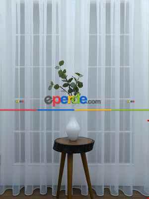 Salon Tül - Dönergücü Pırıltı Zemin Tül Perde Beyaz Renk 1.kalite- Beyaz