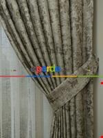 Bej Hardal Desenli Jakar Fon Perde (285 En)- Hardal Sarısı Kahverengi