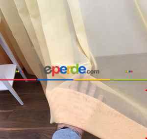 Turuncu Sarı Ekru Degrade Geçişli Düz Tül Perde- Sarı-Turuncu-Ekru