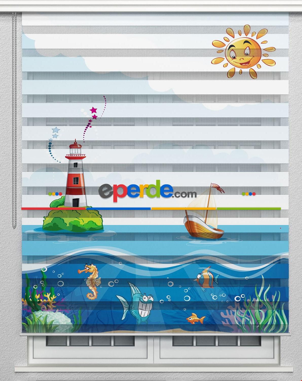 Deniz Feneri Ve Güneş Özel Poster Baskılı Zebra Perde
