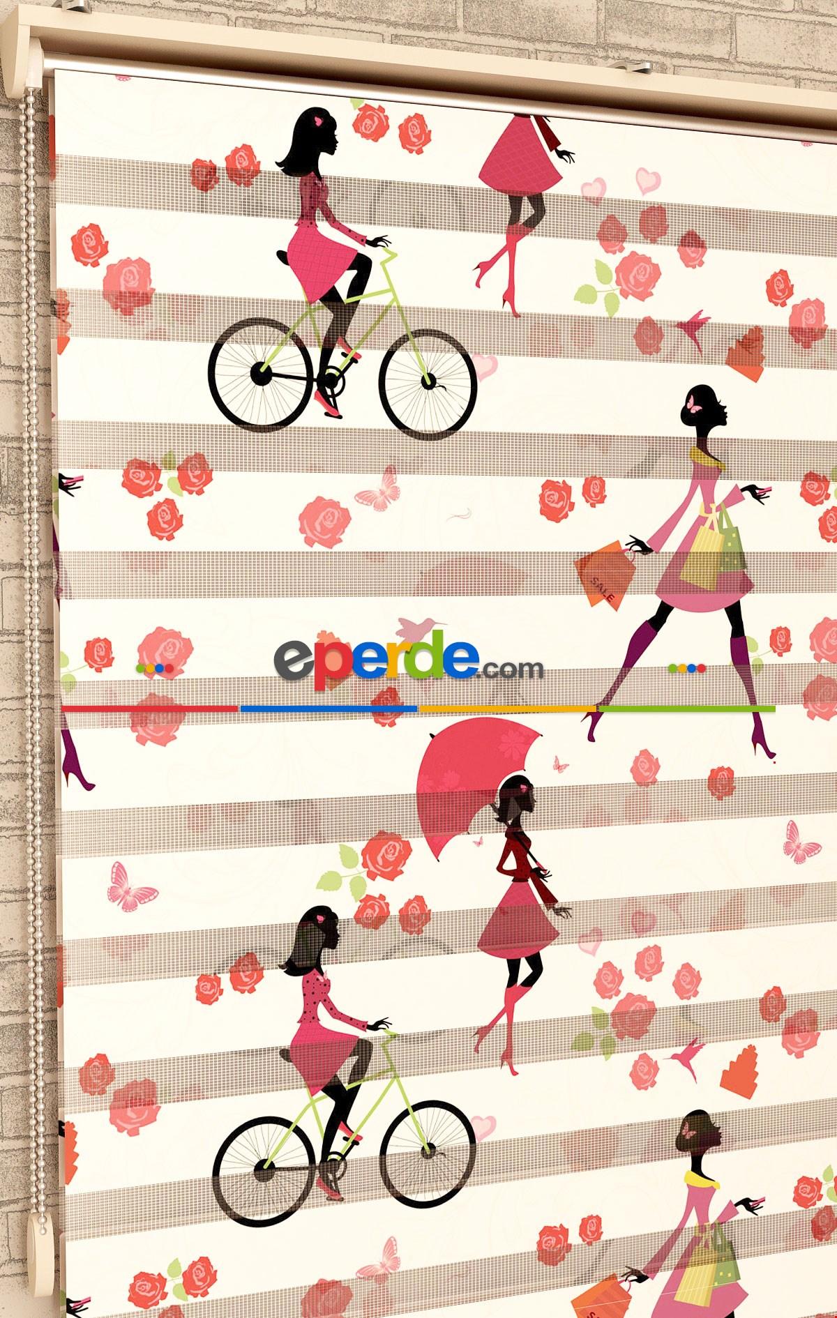 Kız Çocuğu Odası Bisikletler - Baskılı Zebra Perde