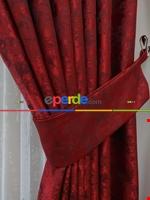 Mavi - Katyonik Jakar Fon Perde 180cm En Kırmızı