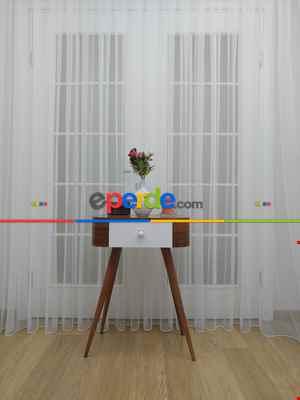 Salon Grek Tül Perde - Petek Zemin (dökümlü) Ekru Renk Kırık Beyaz- Ekru